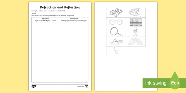 Refraction And Reflection Worksheet   Activity Sheet