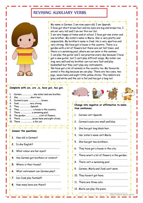 Revising Auxiliary Verbs Worksheet