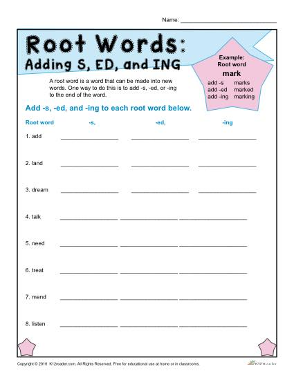 Root Words Worksheets
