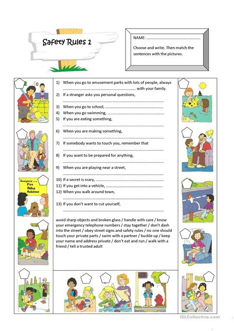 Safety Rules Worksheet