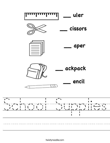 School Supplies Worksheets Worksheets For All