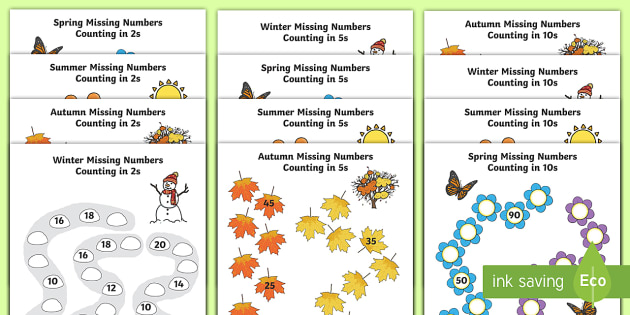 Seasons Path Missing Numbers Counting In 2s, 5s And 10s Activity