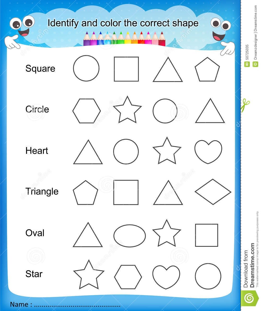 Shapes And Colors Worksheets For Kindergarten  801503