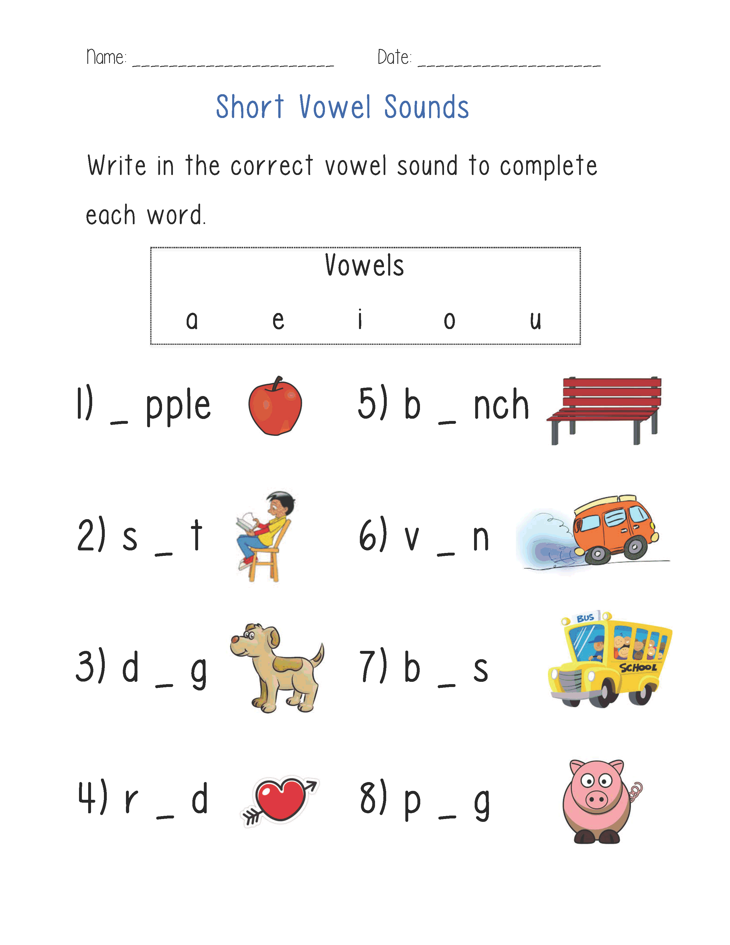 Short Vowel Review Worksheets Kindergarten 919296