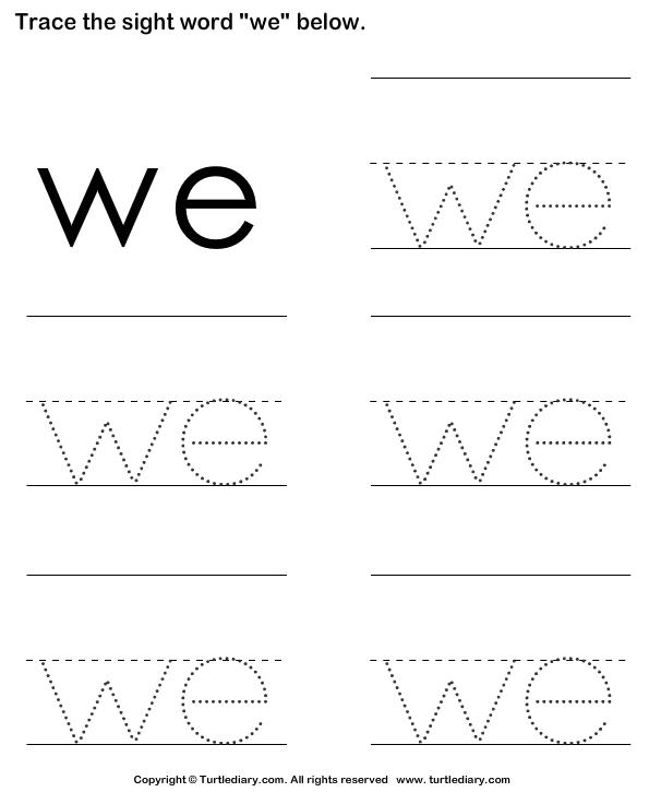 Sight Word We Tracing Sheet Worksheet