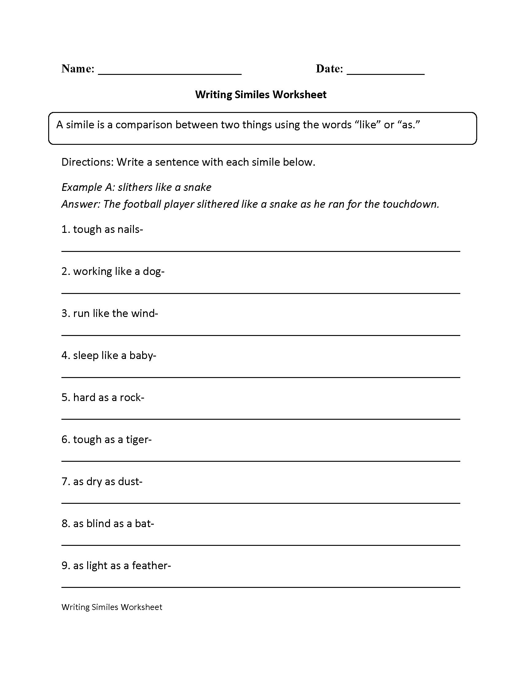 Simile Worksheets For 2nd Grade  738002