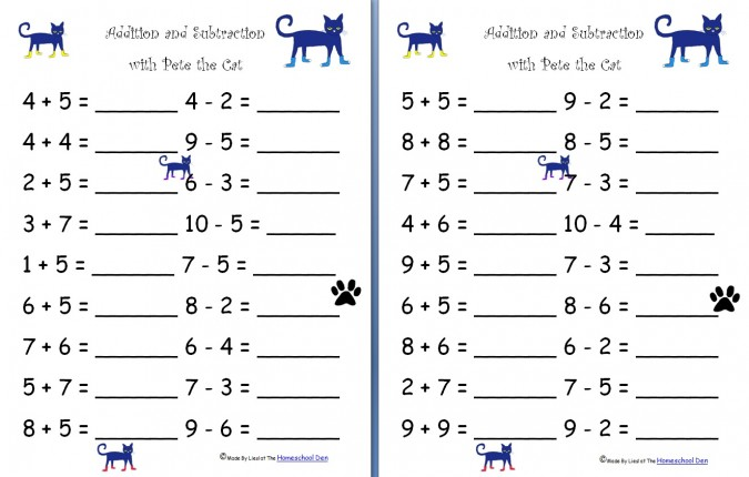 Simple Addition And Subtraction Worksheets For Kindergarten  21777