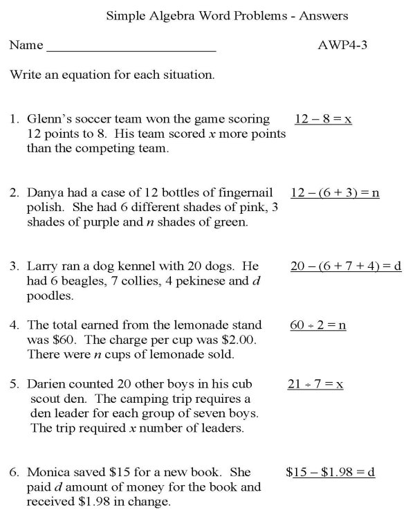 Simple Algebra Word Problems Worksheet The Best Worksheets Image