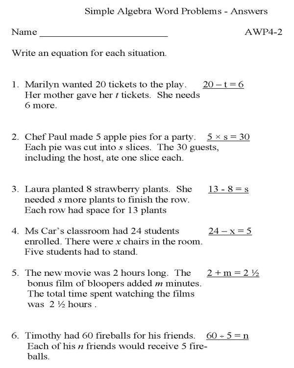 Simple Algebra Word Problems Worksheet The Best Worksheets Image