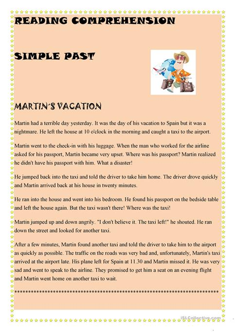 Simple Past Reading Comprehension Worksheet