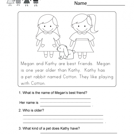 Simple Reading Comprehension Worksheets Free