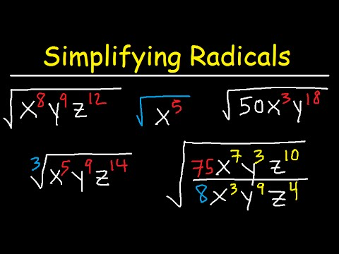 Simplifying Radicals With Variables, Exponents, Fractions, Cube