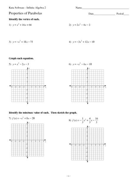 Sketching Parabolas Worksheet
