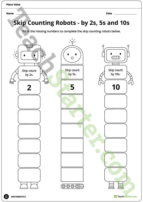 Skip Counting Robot Worksheets