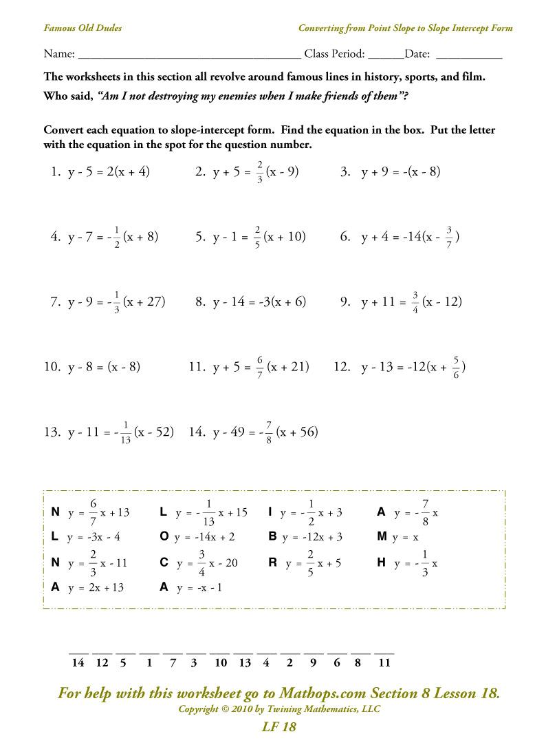 Slope Intercept Form To Point Slope Form Worksheet  524861