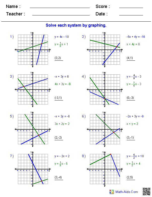 Solving Systems Of Linear Equations By Graphing Worksheet Answers