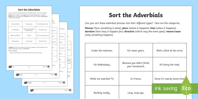 Sort The Adverbials Differentiated Activity Worksheet