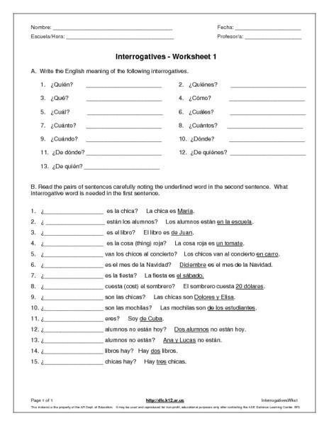 Spanish Question Words Worksheet The Best Worksheets Image