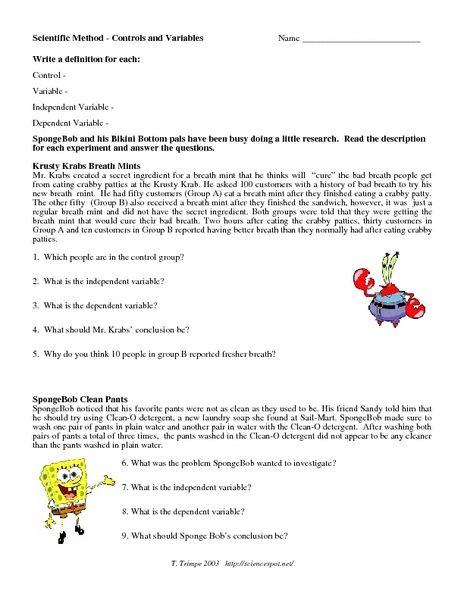 Spongebob Science Worksheet  1975952