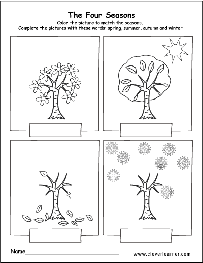 Spring, Summer, Fall And Winter Free Worksheets For Preschools