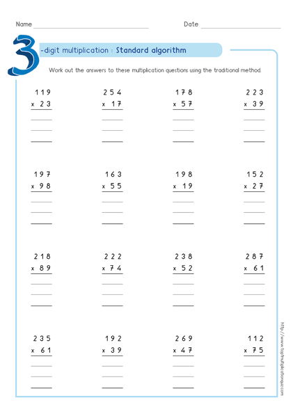 Standard Algorithm Multiplication Pdf Worksheets & Examples