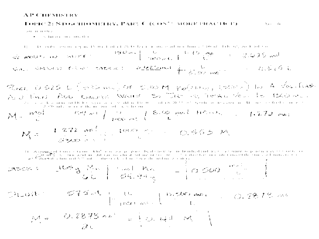 Stoichiometry Worksheet I Answers