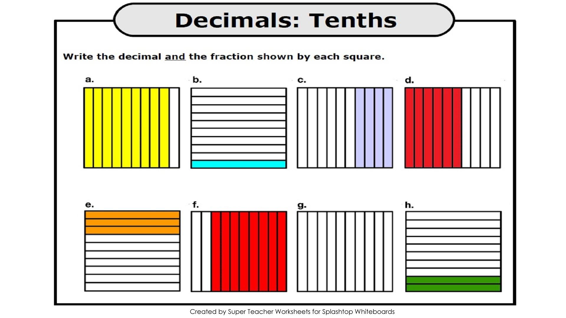 Super Teacher Worksheets Decimals