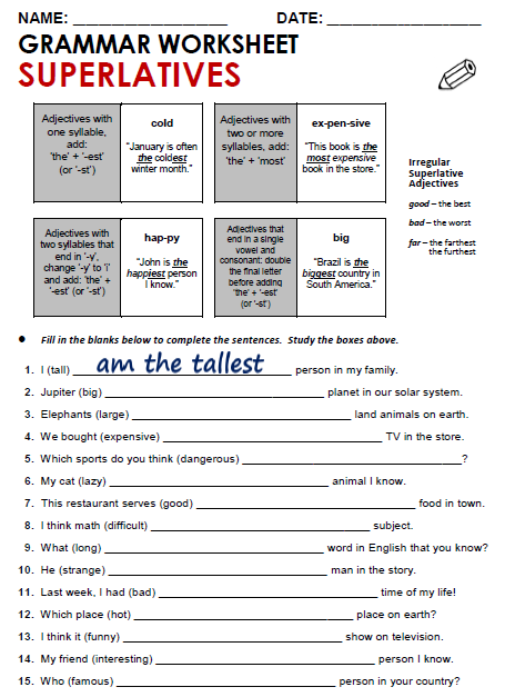 Superlatives Worksheets