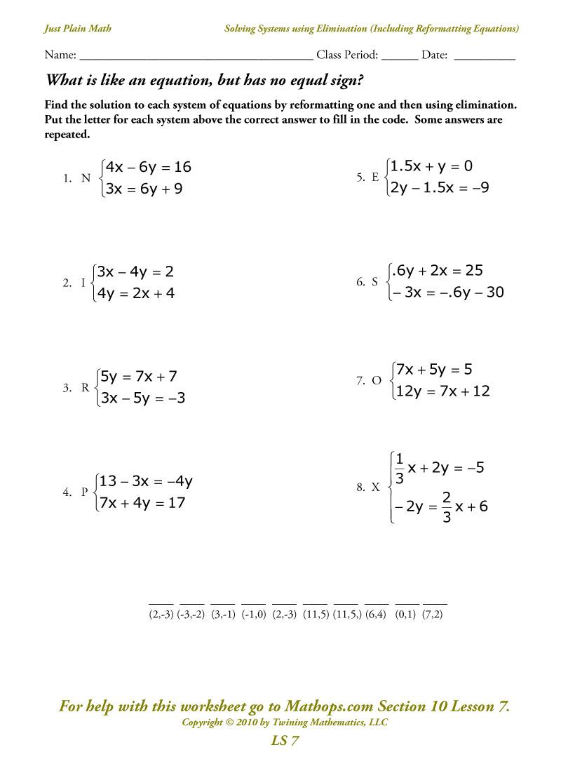 System Of Linear Equation Worksheet The Best Worksheets Image