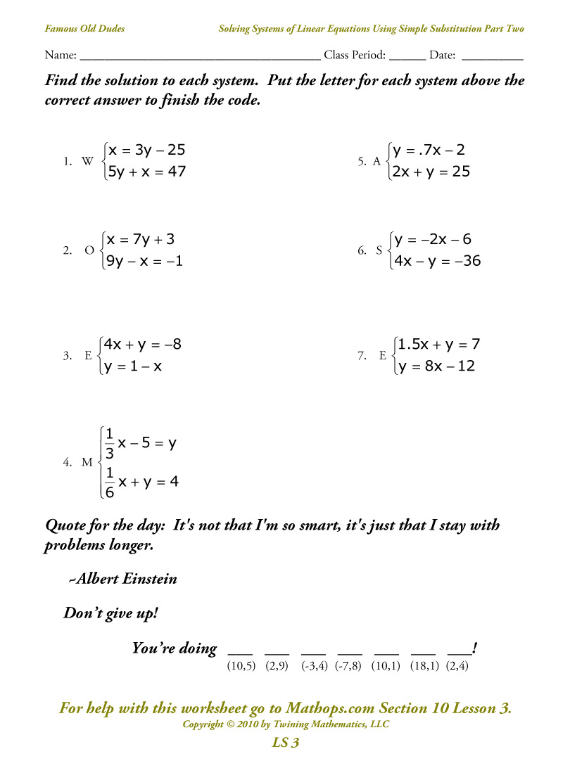 System Of Linear Equations By Substitution Worksheet Pdf  564003