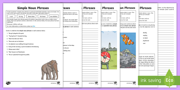 Expanded Noun Phrases Worksheet   Activity Sheets