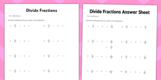 Year 6 Divide Fractions Worksheet   Activity Sheet