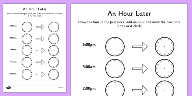 An Hour Later Worksheet