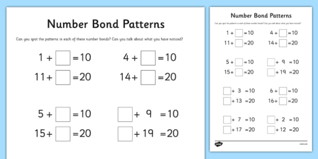 Number Bond Patterns Worksheet   Activity Sheet, Worksheet