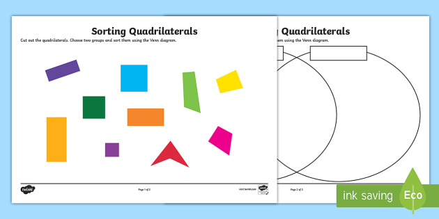 Sorting Quadrilaterals Worksheet   Activity Sheet