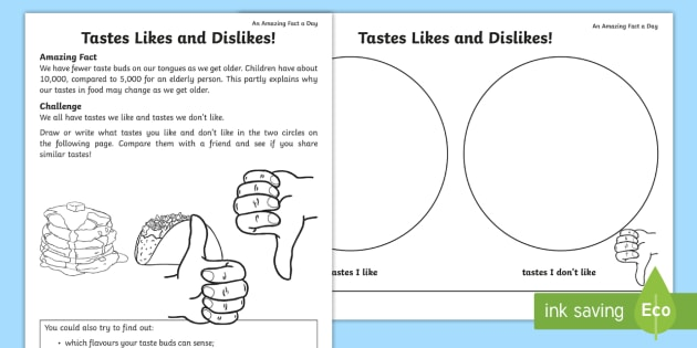 Taste Likes Dislikes Worksheet   Activity Sheet