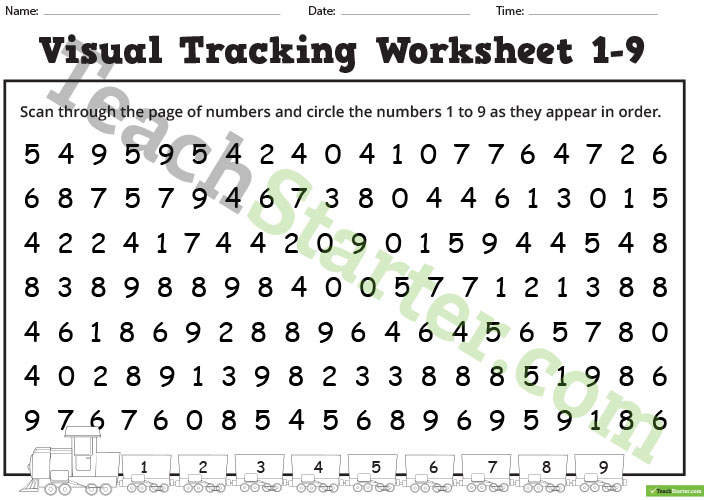 Number And Letter Visual Tracking Worksheets Teaching Resource