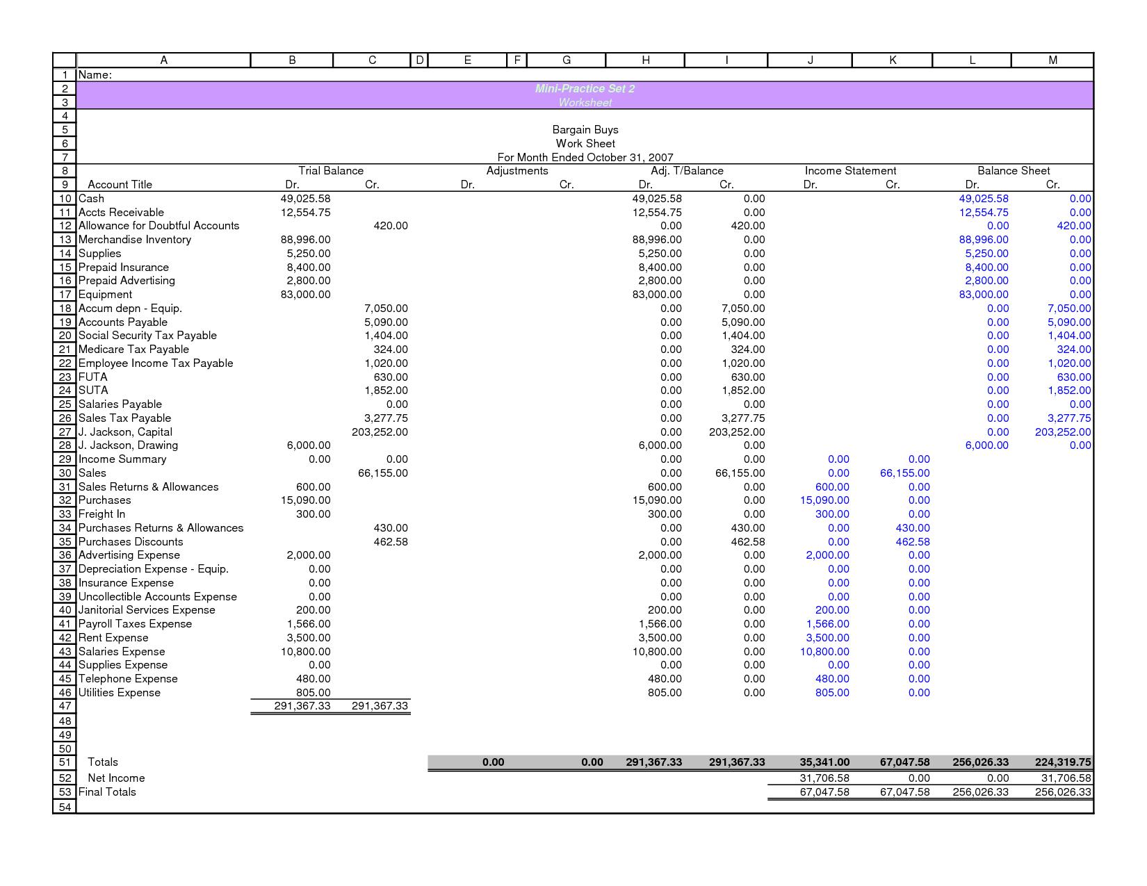 Ten Column Worksheet In Accounting  505007