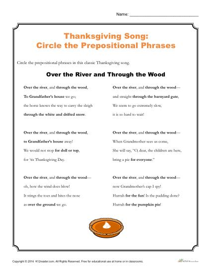 Thanksgiving Song Activity