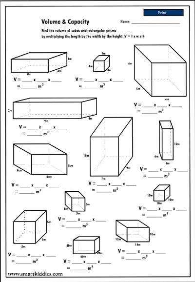 Third Grade Math Volume Worksheets