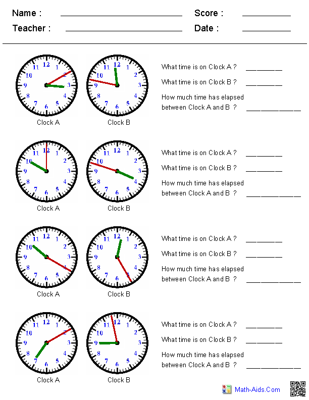 Third Grade Math Worksheets Elapsed Time 90919