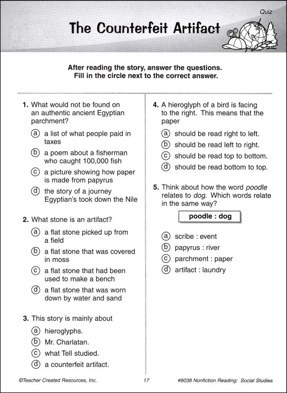 Third Grade Reading Comprehension Worksheets Multiple Choice