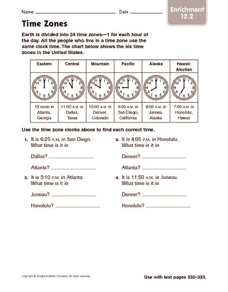 Time Zones Worksheets With Maps The Best Worksheets Image