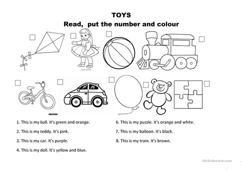 Toys And Colours Worksheet