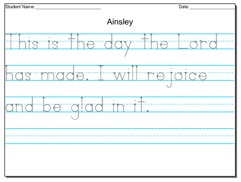 Traceable Handwriting Worksheets For Kindergarten