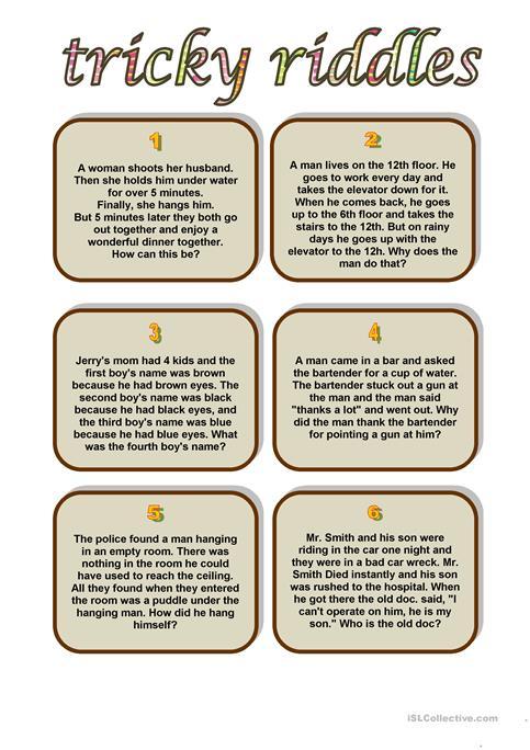 Tricky Riddles Worksheet