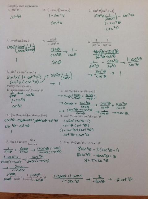 Trig Identities Worksheet 3 4 Worksheets For All