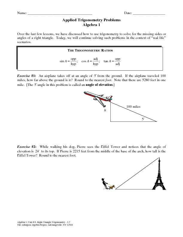 15+ Trig Word Problems Worksheet Answers