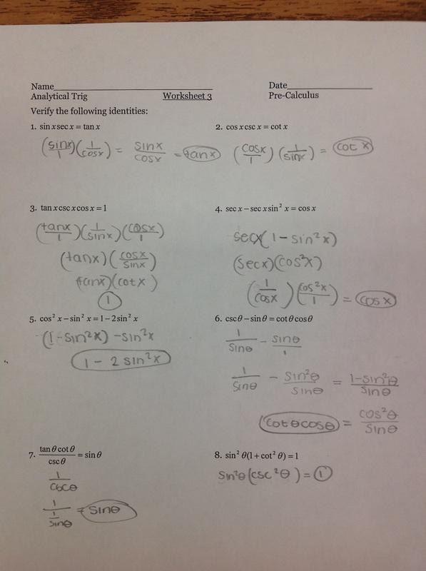 Trigonometric Sum And Difference Identities Worksheet