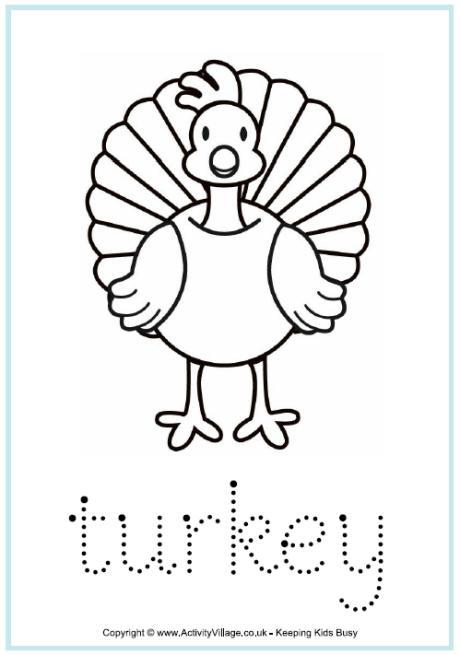 Turkey Finger Tracing Worksheet For Children